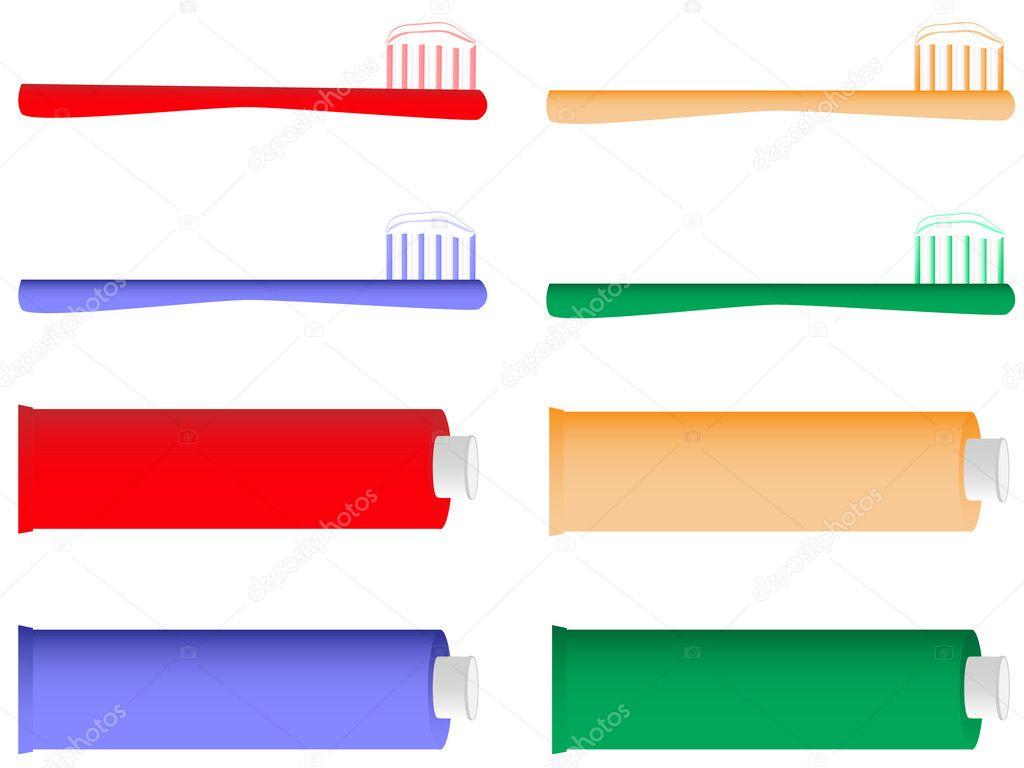 矢量插画的牙刷和牙膏— 矢量图片作者 iglira