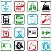 Symbolsatz einkaufen — Stockvektor