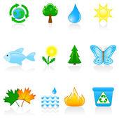 Ikonuppsättning miljö — Stockvektor