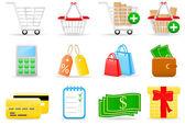 Alışveriş simgeleri — Stok Vektör