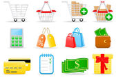 Shopping ikoner — Stockvektor