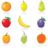 Zestaw ikon owoce — Wektor stockowy