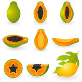 Papaya — Vector de stock