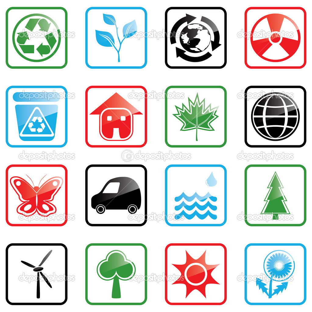 Vector illustration with environmental icons — Stock Vector #1642972