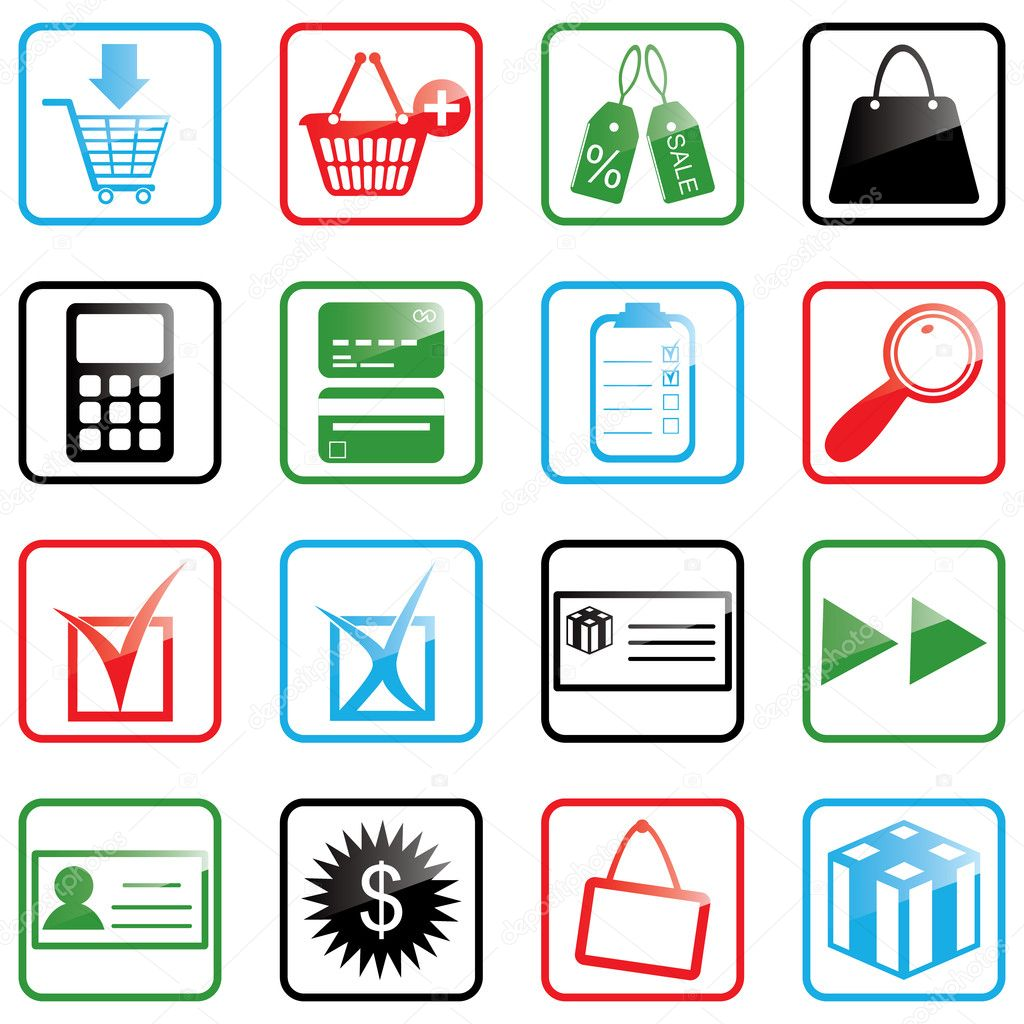 Vector illustration of shopping icons — Stock Vector #1642981