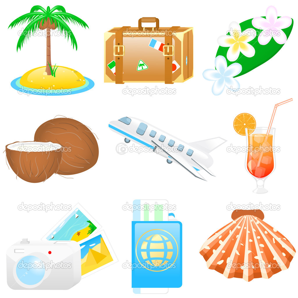 Set with vacations and travel icons — Stock Vector #1643235