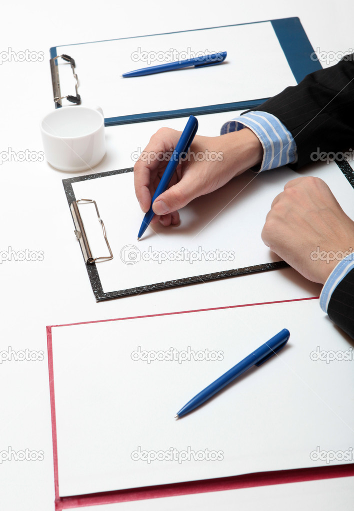 Businessman write the abstract at a seminar — Stock Photo #1592813