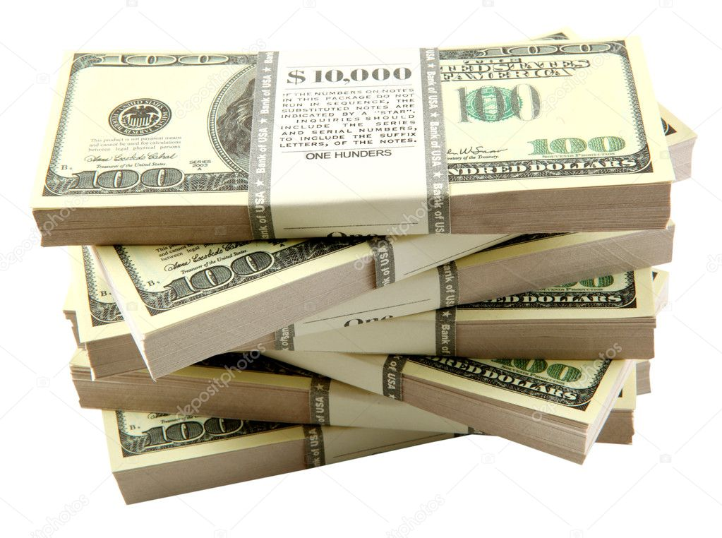 Stack of dollars on white background   Stock Photo #1593457