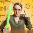 Crazy female teacher - Stock Photo