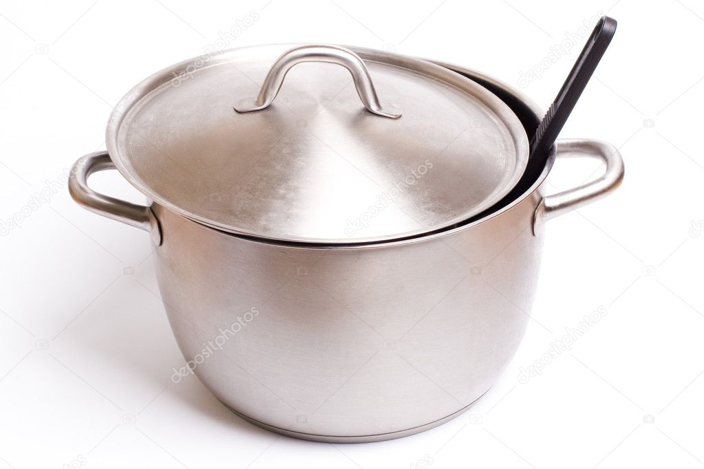 A stainless pan isolated on a white background. — Stock Photo #2429652