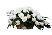 White Roses in Basket — Stock Photo