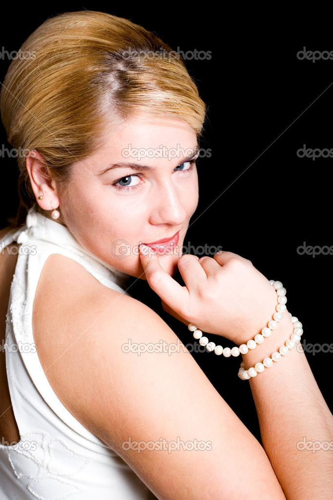 The smiling blonde has turned back — Stock Photo #2431633