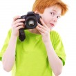 Red teen photographes — Stock Photo