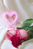 Pink heart and roses — Fotografia Stock