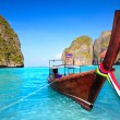Longtail boat at Maya bay — Stok fotoğraf