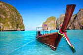 Longtail boat at Maya bay — Stock Photo
