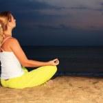 Meditation under moonlight — Stock Photo