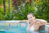 Woman in Jacuzzi — Stock Photo