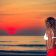 Woman at sunrise time — Stock Photo #1629570
