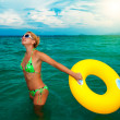 Stock Photo: Woman with life buoy