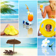 Collage tropical beach - Stock Photo