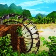 Bamboo water wheel — Stock Photo