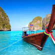 Longtail boat at Maya bay - Stock Photo