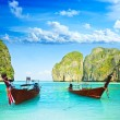 Longtail boats at Maya bay - Stock Photo