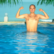 Man in swimming pool — Foto de Stock