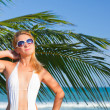 Woman on the tropical beach - Stockfoto