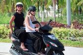 Riding motorbike — Stock Photo