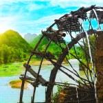 Bamboo water wheel — Stock Photo