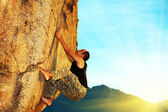 Free solo climbing — Stock Photo