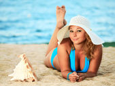 Sunbathing woman — Stock Photo