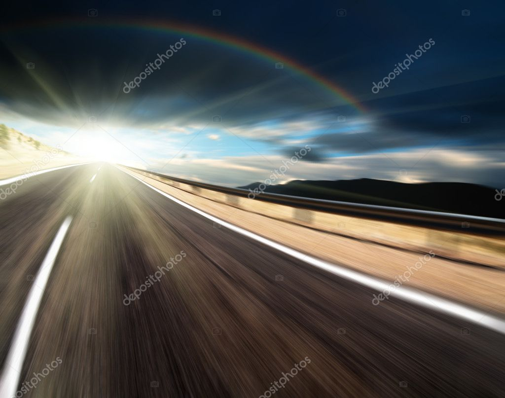 Road and dark sky with motion blur — Stock Photo #1582088