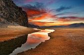 Daybreak in mongolian desert — Stock Photo