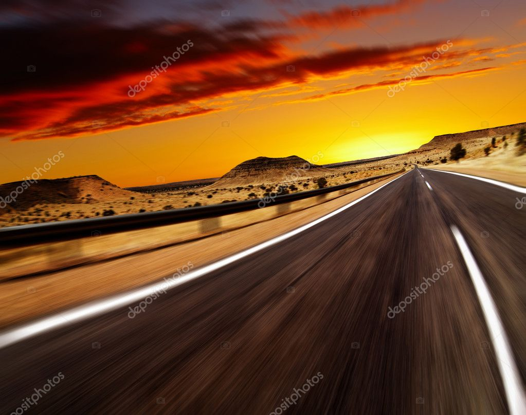 Road in desert with motion blur — Stock fotografie #1593286