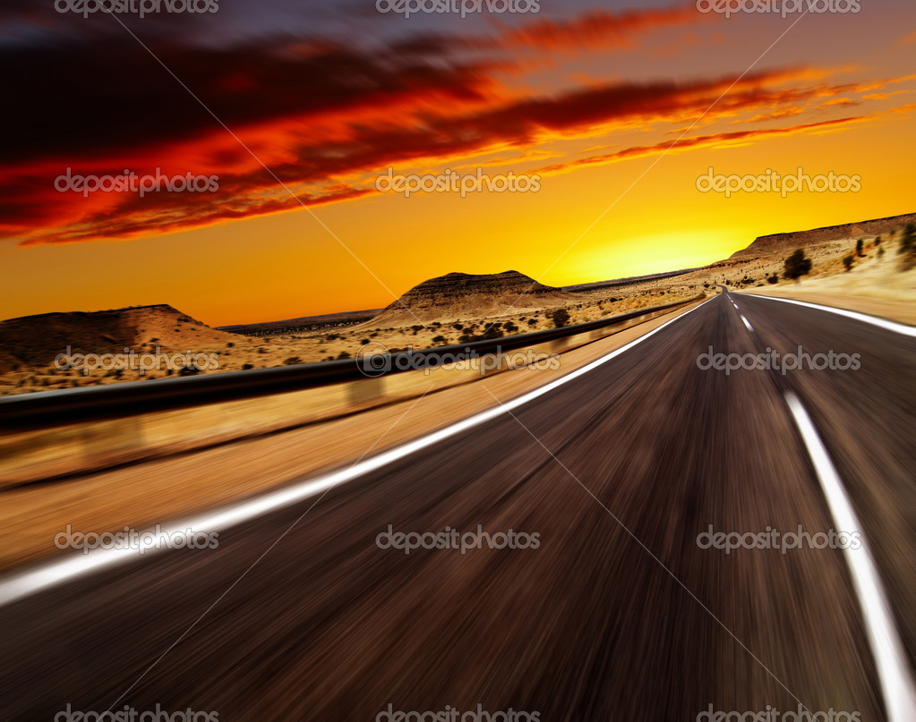 Road in desert with motion blur — Stok fotoğraf #1593286