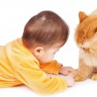 Baby and cat — Stock Photo