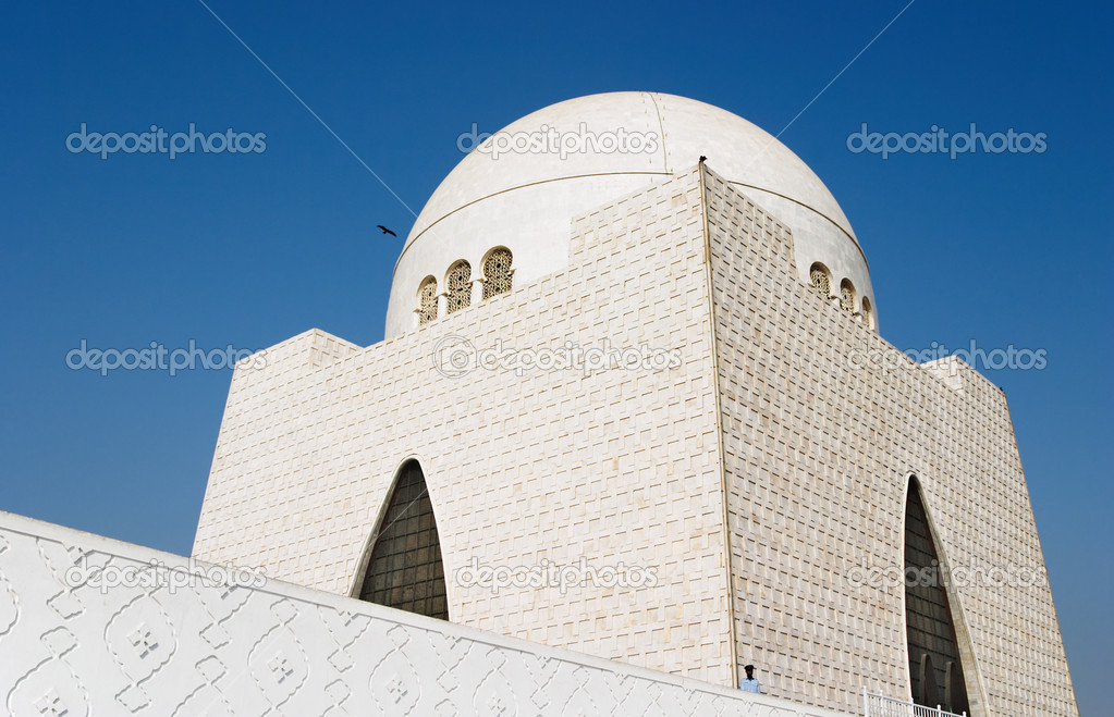 Mazar-e-Quaid- mausoleum of the founder of Pakistan, Muhammad Ali Jinnah. Iconic symbol of Karachi throughout the world  Stock Photo #1611328