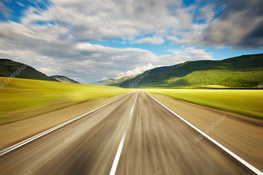 Empty road with motion blur  Stock Photo #1621618