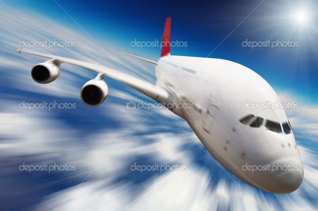 Jet airplane in the sky with motion blur — Stock Photo #1622586