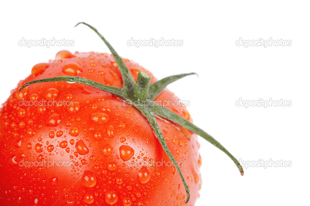 Closeup of wet tomato isolated on white — Stock Photo #1635708