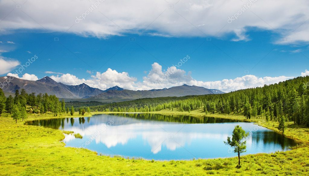 Mountain landscape with beautiful lake and forest  Stock Photo #1715471