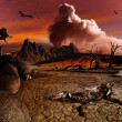 Apocalyptic fantasy landscape - Stock Photo