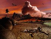 Apocalyptic fantasy landscape — Stock Photo