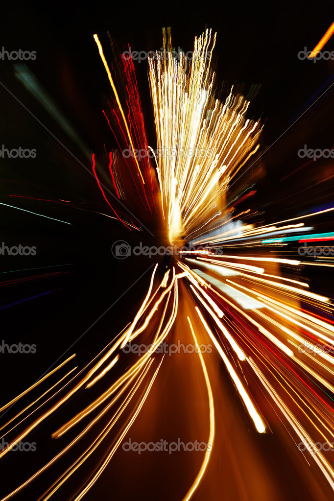 Night traffic in the city, car lights in motion blur with zoom effect — Stockfoto #2517125