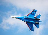 Military jet at Air show, Novosibirsk — Stock Photo