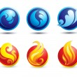 Set of hot natural web icons - Stock Vector