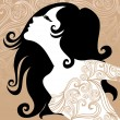 Royalty-Free Stock Vector Image: Closeup decorative vintage woman